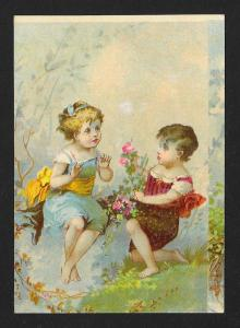 VICTORIAN TRADE CARD Two Children with Flowers