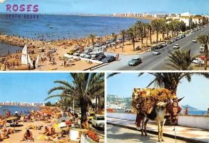 Spain Roses Costa Brava, Playa Beach Promenade Auto Cars Voitures Donkey