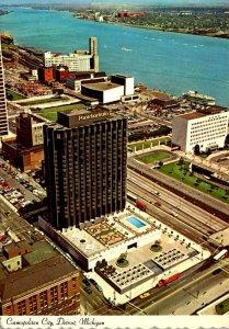 Michigan Detroit Aerial View Hotel Pontchartrain and Detroit River