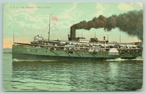 Great Lakes C&B Steamer City of Erie Blows Black Smoke~Passengers on Deck~1911