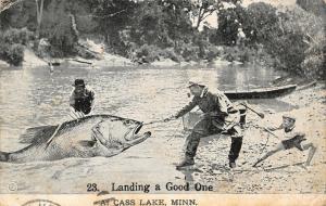 Landing a Good One @ Cass Lake Minnesota~Exaggerated Walleye Fish~Tug War~1915