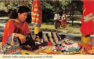 Published by Curteich, C.T. Art Colortone Seminole Indians, Florida USA Postc...