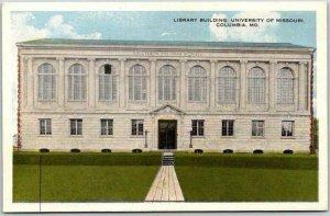 Vintage UNIVERSITY OF Missouri Postcard Library Building Columbia MO c1920s