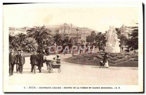 Old Postcard Nice New Gardens Statue of Poetry and Casino Municipal Charette ...