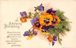 A Happy Birthday, Good wishes Greetings, Pansy Pensee Flowers Art 1924