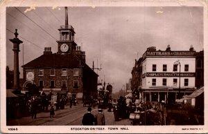 Durham STOCKTON ON TEES Town Hall & Market c1905 RPPC Postcard