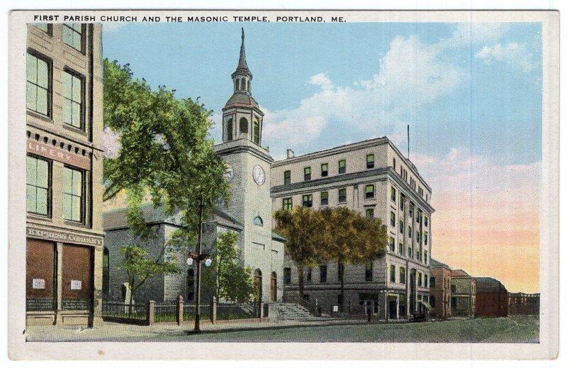Portland, Me, First Parish Church And The Masonic Temple