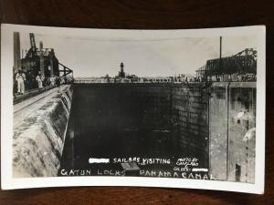 RPPC 1920 US Navy Sailors Visiting Gatun Locks, Panama Canal Zone D21