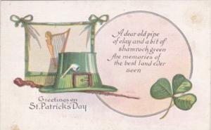 Saint Patrick's Day Greetings With Shamrock Hat and Harp