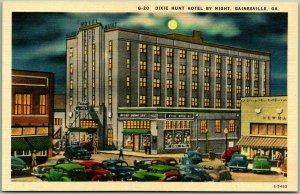 Gainesville, Georgia Postcard DIXIE HUNT HOTEL Street Scene Night - Linen c1940s