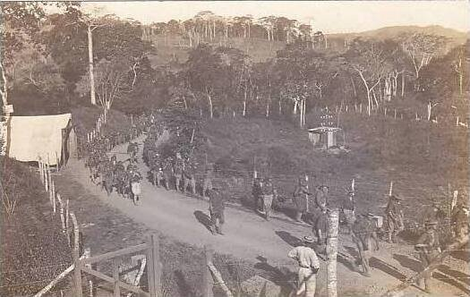 Panama Soldiers Marching Road Real Photo