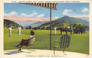 Waynesville North Carolina~Club House @ Golf Course~Golfers on Green~1940s Linen