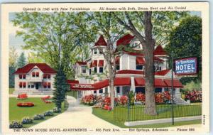 HOT SPRINGS, Arkansas AR  Roadside TOWN HOUSE HOTEL APARTMENTS  c1940s Postcard
