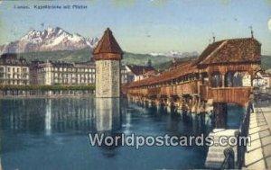 Kapellbrucke mit Pilatus Luzern Swizerland 1925