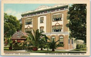 St Petersburg, Florida Postcard LEXINGTON ARMS APARTMENTS 316 4th Avenue Linen