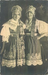 Postcard Slovakia folklore girls costume traditions
