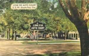 1948 Lone Fir Auto Court Roadside Grants Pass Oregon MWM postcard 1953