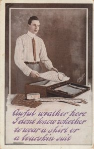 AS: Man wondering what to pack because of the weather, PU-1910