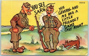 WWII Military Comic Linen Postcard Private Wins Medals from General / Poker Game