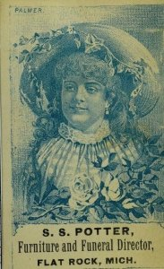 1870's-80's S. S Potter Furniture & Funeral Director Actress Minnie Palmer P82