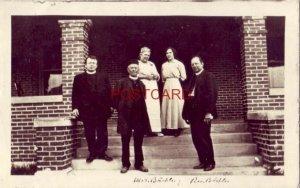 Hoven, S. Dakota RPPC - marked Mrs. Buechler Rev. Buechler three men, two women
