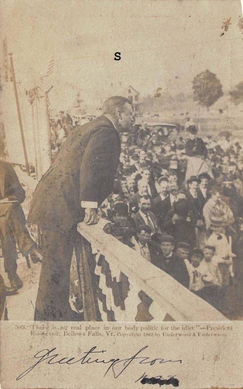 BELLOWS FALLS, VERMONT PRESIDENT TEDDY ROOSEVELT ADDRESSING RALLY-1902