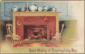 Clapsaddle, Good Wishes for Thanksgiving Day, Black pot over roaring fire of ...