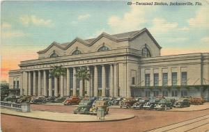 Jacksonville Florida~Union Terminal~Passenger Railroad Station~1943 Linen~Cars