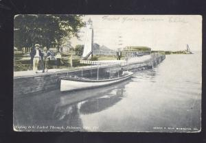 DELAWARE CITY DELAWARE BOATS AT LOCK ANTIQUE VINTAGE POSTCARD B&W