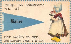 Somebody in Baker Kansas~Wants to See Somebody~1913 Pennant Postcard