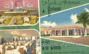 Miami Beach Florida USA Linen Postcard Park Avenue Restaurant Old Vintage Ant...