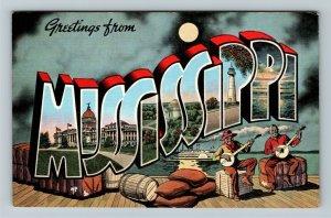 MS-Mississippi, LARGE LETTER GREETING, Moonlight, Advertising Linen Postcard