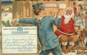 Christmas - Santa Claus at Workshop Mailman Delivering Letter Telegram c1910