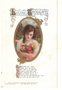 Pretty lady with roses. Loving Tho Bamforth Valentine Song  greetings  PC # 15