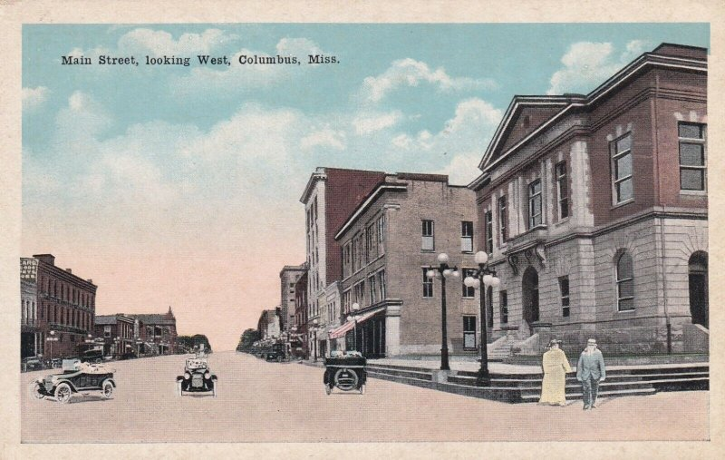 COLUMBUS, Mississippi, 1900-10s; Main Street looking West
