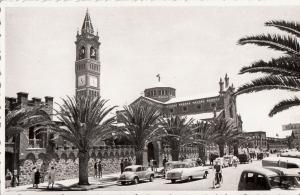Ethiopia Asmara Africa Halle Sellassie avenue church clock tower cars real photo