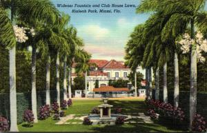 Florida Miami Hialeah Park Widener Fountain and Club House Lawn Curteich