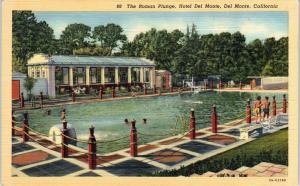 DEL MONTE, CA California The  ROMAN  PLUNGE at the HOTEL  c1940s Linen  Postcard