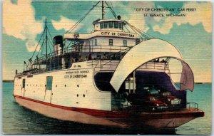 1940s St. Ignace, Michigan Postcard CITY OF CHEBOYGAN Car Ferry Linen Unused