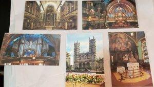 Vintage Postcard Lot of 5:CANADA-Montreal, Quebec- Notre Dame Basilicas