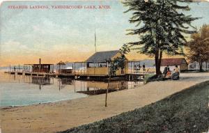 A67/ Vandercooks Lake Michigan Mi Postcard 1909 Steamer Landing Boats