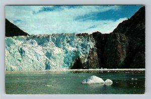 Juneau AK-Alaska, Sawyer Glacier Reaches the Sea at Tracy Arm, Chrome Postcard
