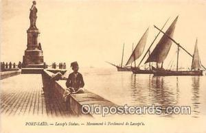 Port Said, Lessep's Statue Monument a Ferdinand de Lessep's Ship Postcard Pos...
