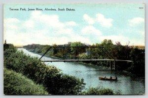 Aberdeen South Dakota~Tacoma Park~Boat Approaches Bridge on James River~1913