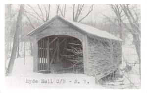 D77/ Hyde Hall New York NY Real Photo RPPC Postcard c50s Covered Bridge 7