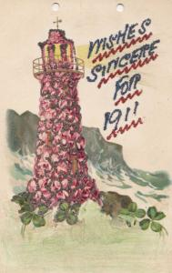 The Year 1911 Lighthouse REAL GLITTER ANTIQUE Sparkle Old Postcard