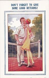 Bamforth Tennis Comics Couple Kissing On Tennis Court