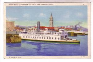Closeup Ferry Boats Leaving For Bay Cities, San Fransico, California, Sranley...