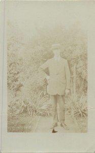 vintage Postcard elegant suit gentleman fancy hat