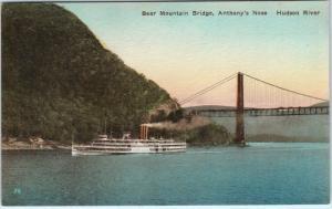 HUDSON RIVER, NY   BEAR MOUNTAIN BRIDGE Ship Anthony's Nose  c1930s    Postcard